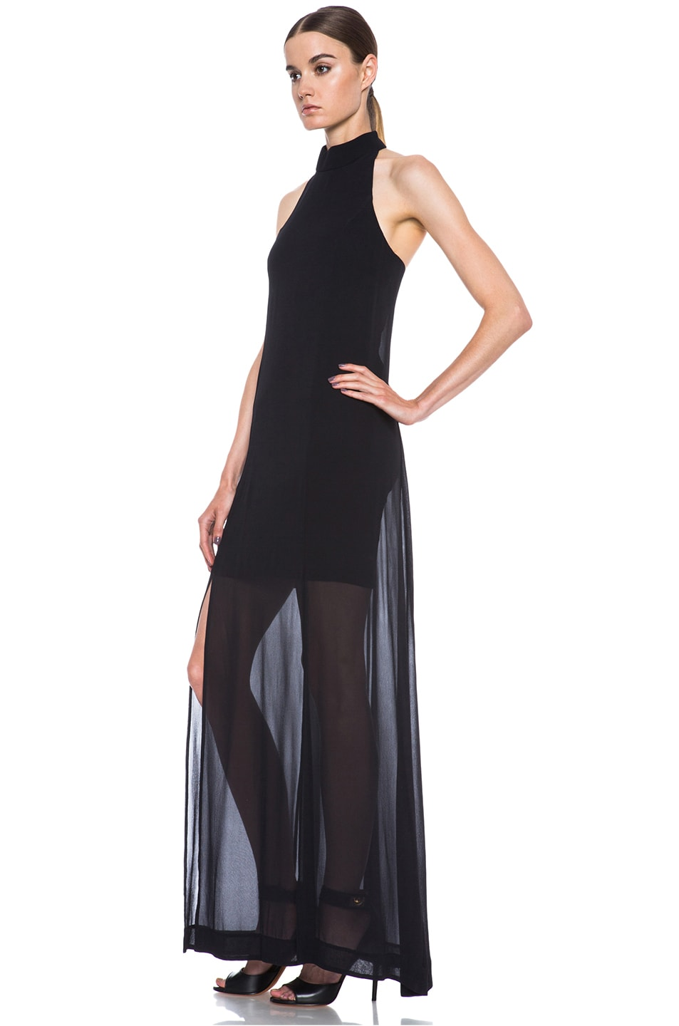 Image 2 of NICHOLAS Halter Silk Gown in Black