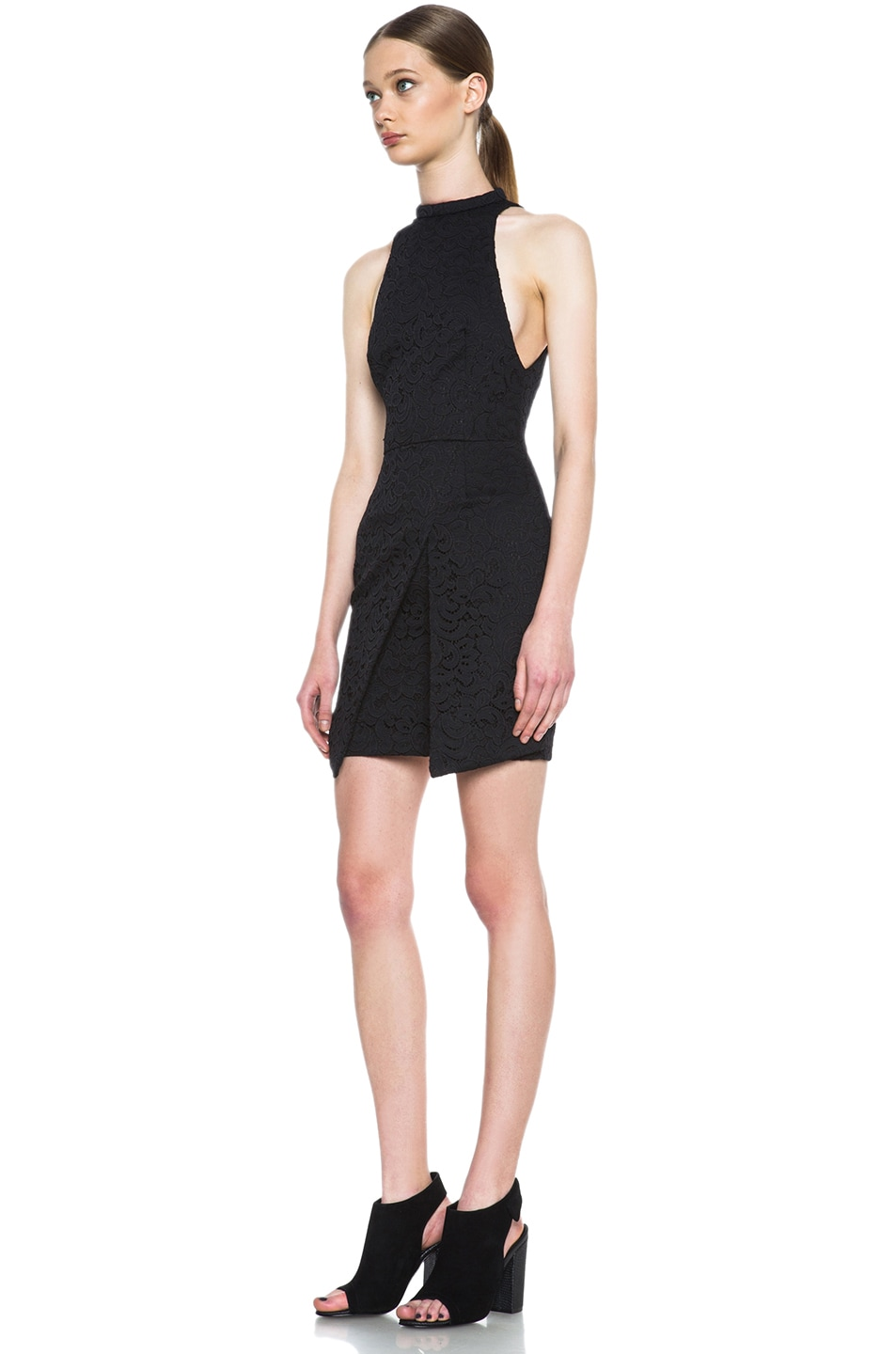 Image 2 of NICHOLAS Roll Neck Wrap Lace Knit Dress in Black