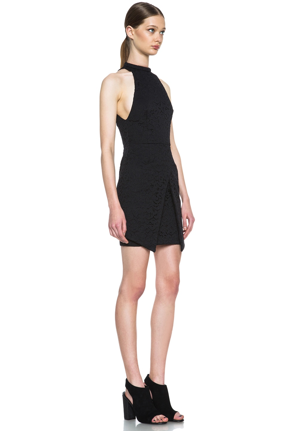 Image 3 of NICHOLAS Roll Neck Wrap Lace Knit Dress in Black