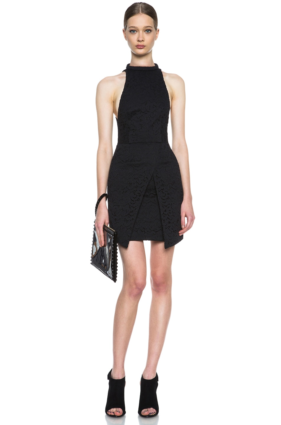 Image 5 of NICHOLAS Roll Neck Wrap Lace Knit Dress in Black