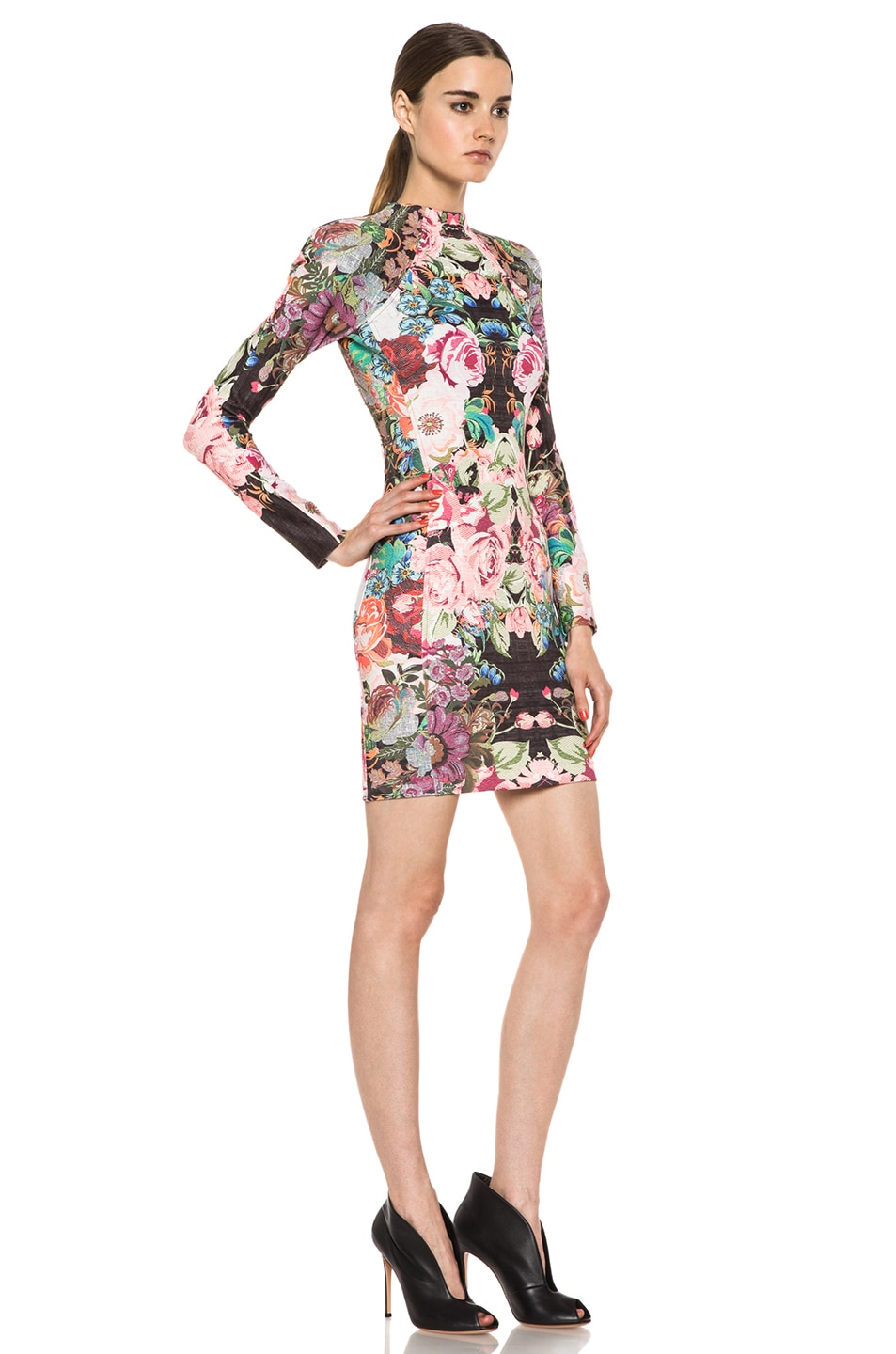 Image 3 of NICHOLAS Tapestry Print Scuba Long Sleeve Dress in Multi
