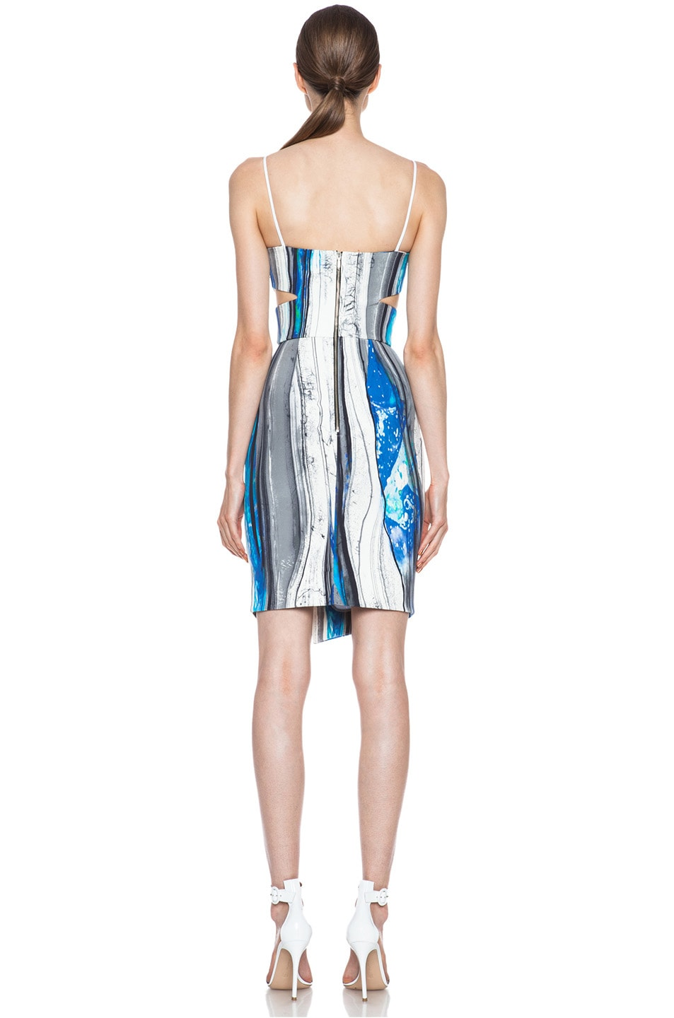 Image 4 of NICHOLAS Cut Out Silk Dress in Blue Poles