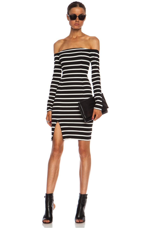 Online wear black and white off the shoulder dress online