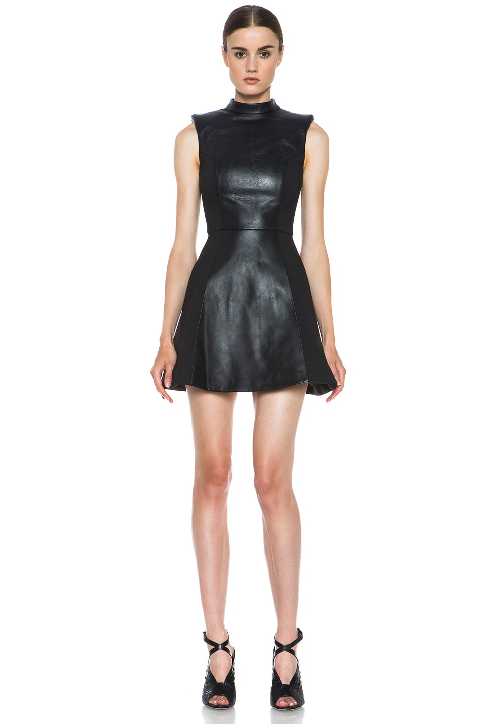 Image 1 of NICHOLAS Leather High Neck Dress in Black