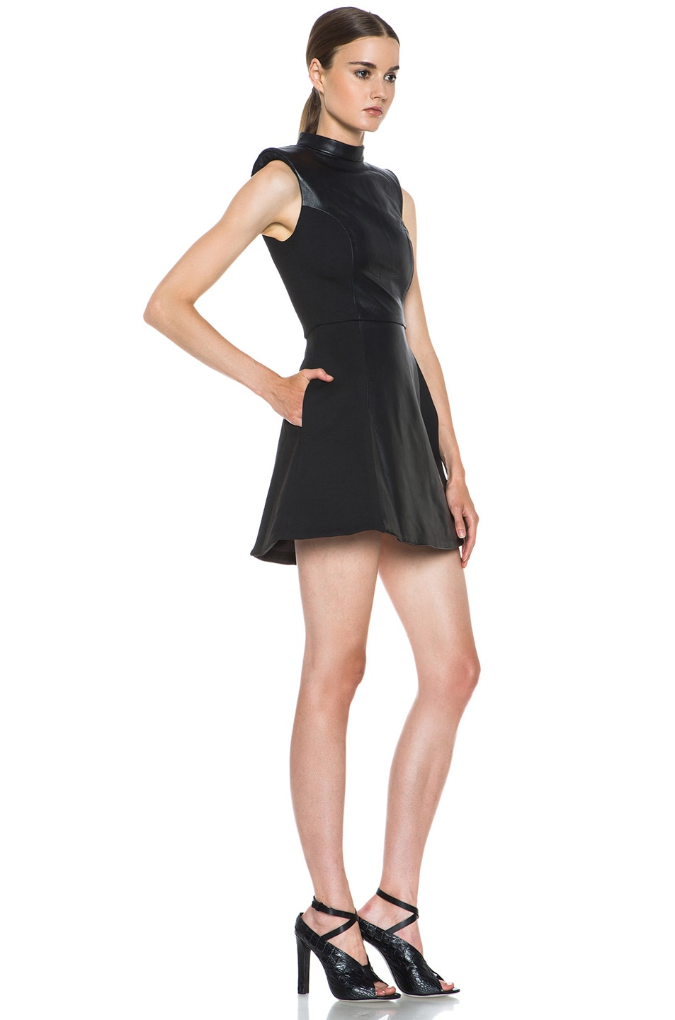Image 3 of NICHOLAS Leather High Neck Dress in Black
