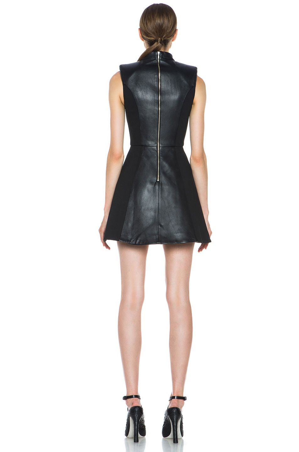 Image 4 of NICHOLAS Leather High Neck Dress in Black