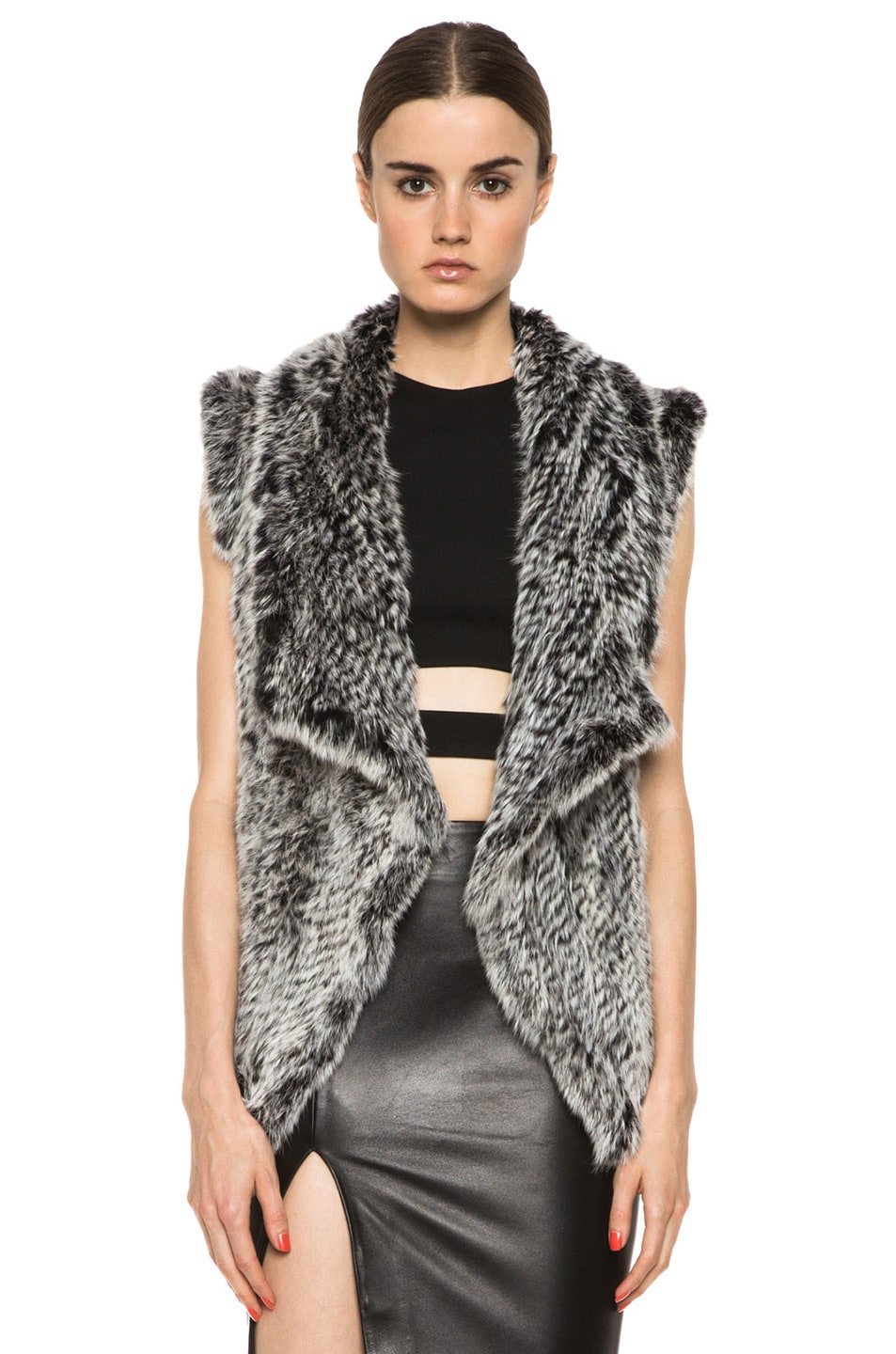 Image 1 of NICHOLAS Knitted Fur Vest in Black & White