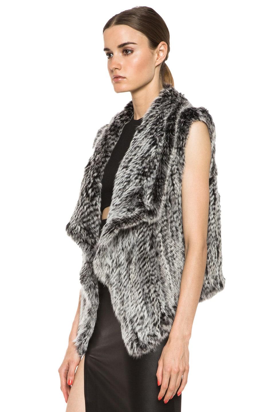 Image 2 of NICHOLAS Knitted Fur Vest in Black & White
