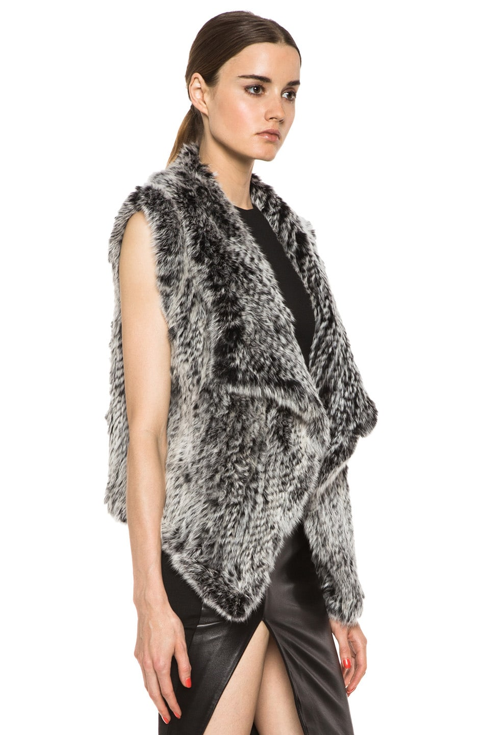 Image 3 of NICHOLAS Knitted Fur Vest in Black & White
