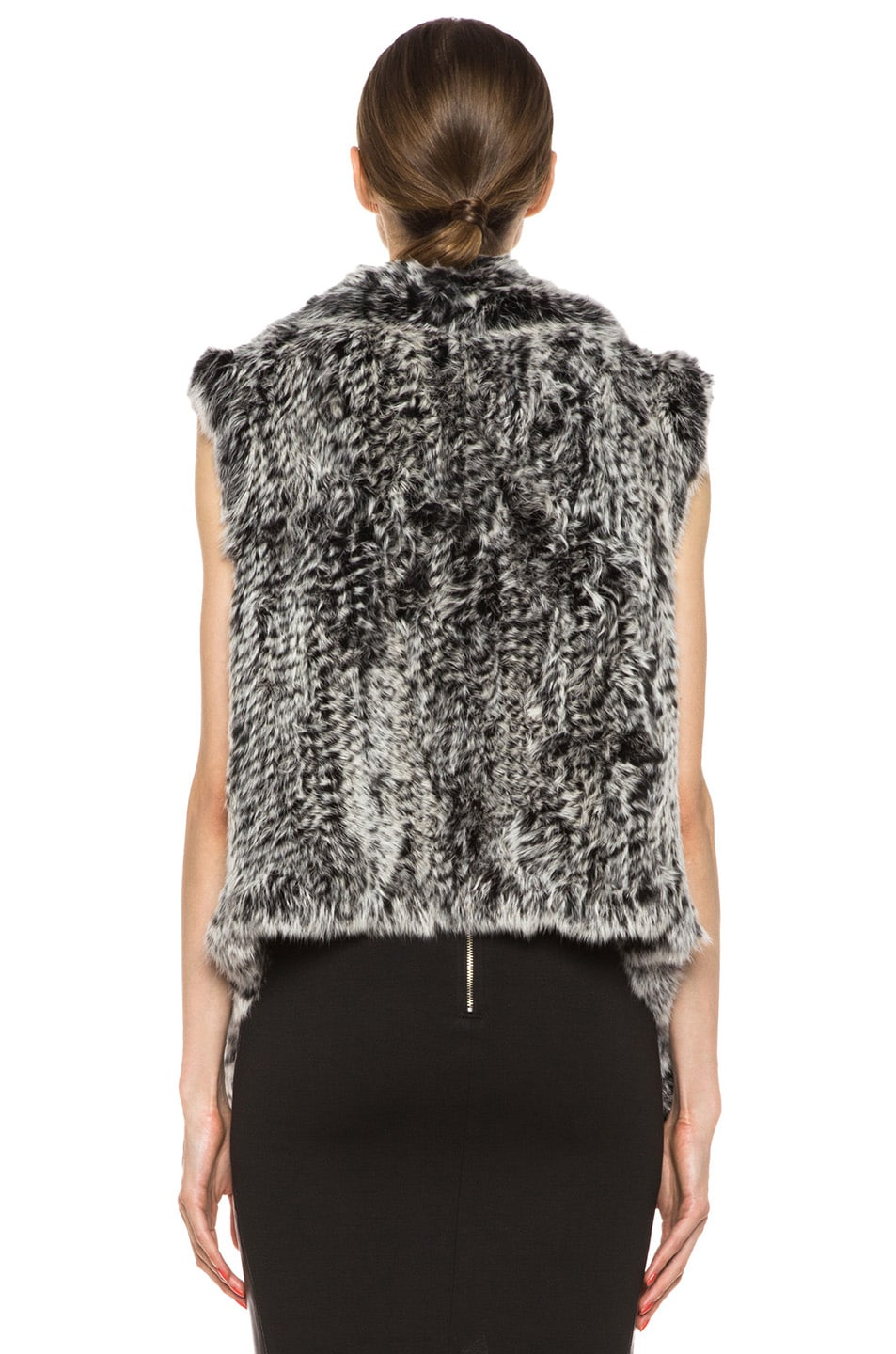 Image 4 of NICHOLAS Knitted Fur Vest in Black & White