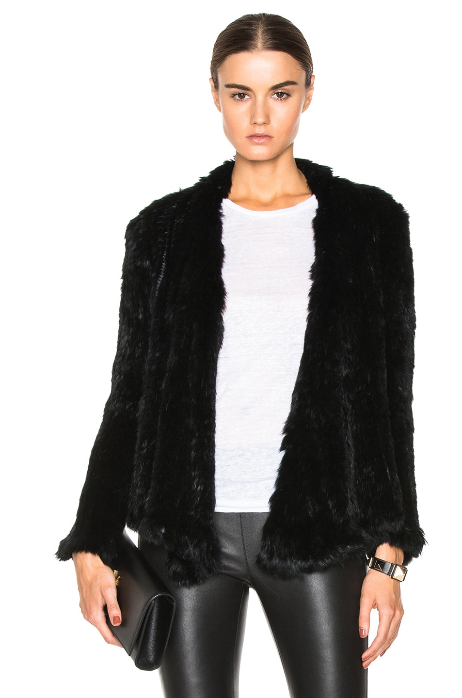 Image 1 of NICHOLAS Knitted Rabbit Fur Jacket in Black