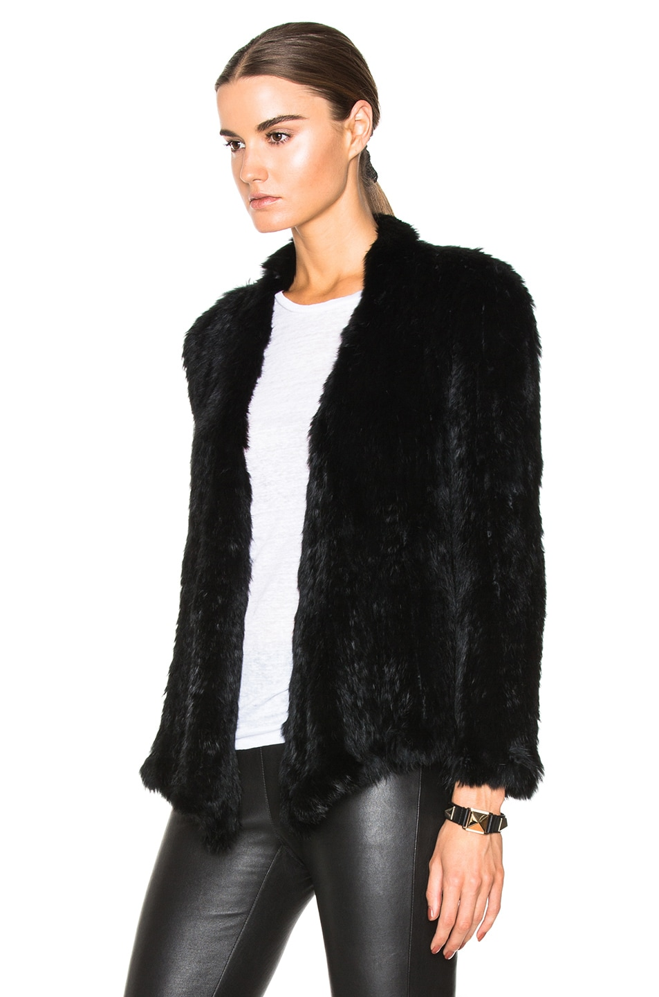 Image 2 of NICHOLAS Knitted Rabbit Fur Jacket in Black