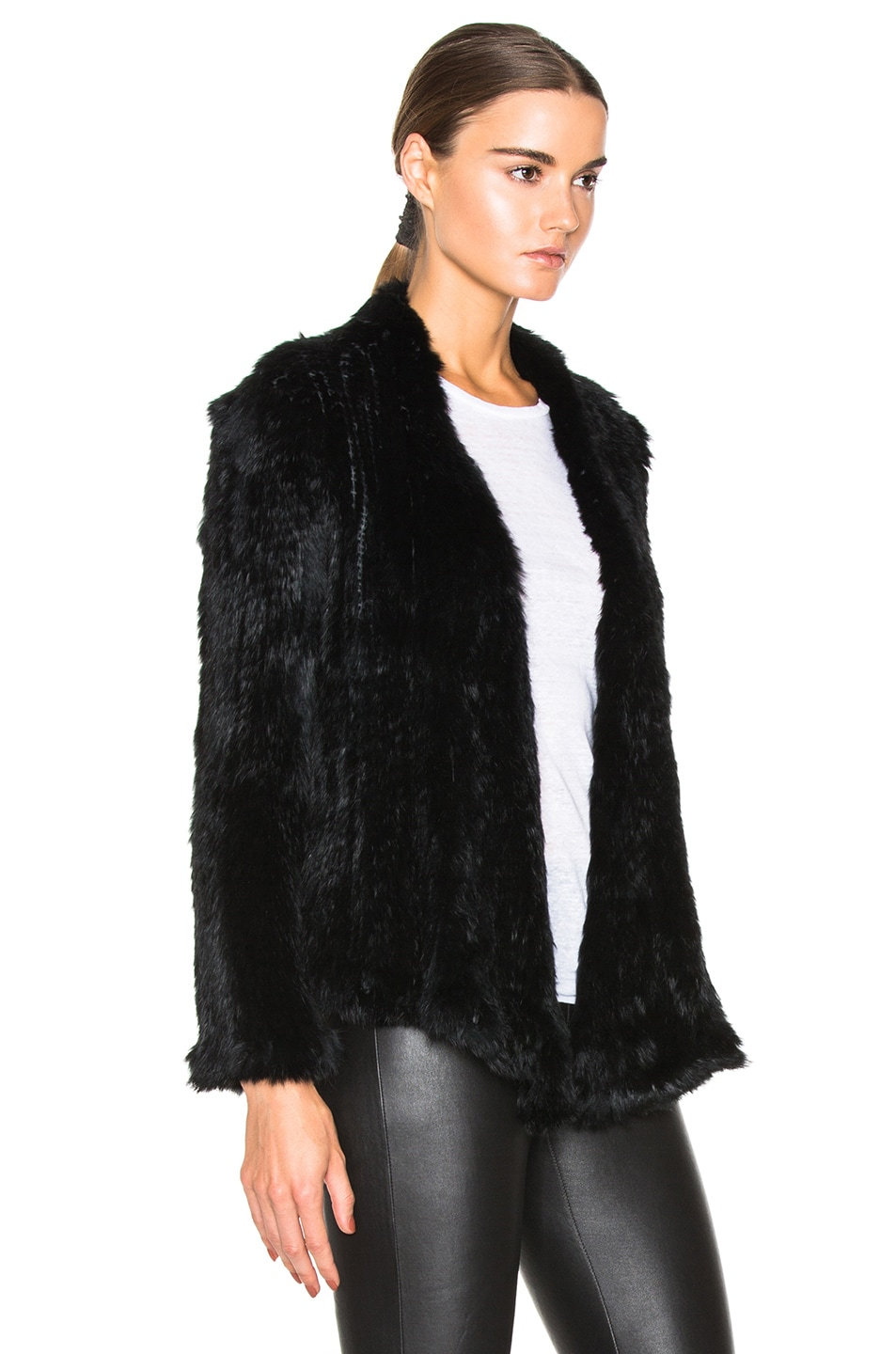 Image 3 of NICHOLAS Knitted Rabbit Fur Jacket in Black
