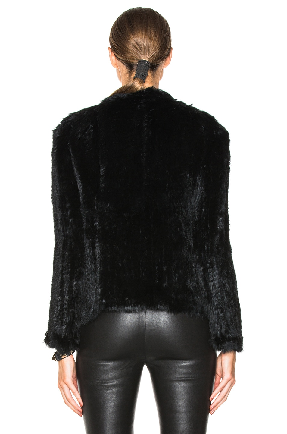 Image 4 of NICHOLAS Knitted Rabbit Fur Jacket in Black