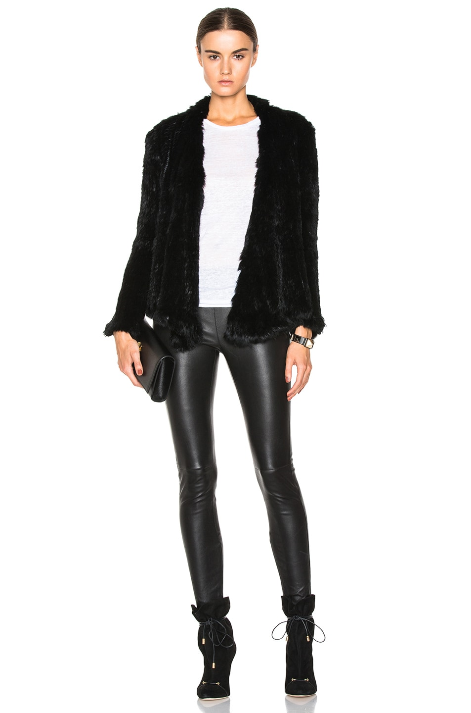 Image 5 of NICHOLAS Knitted Rabbit Fur Jacket in Black