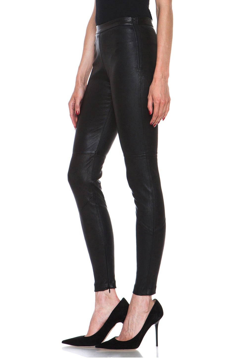 Image 2 of NICHOLAS Stretch Leather Legging in Black