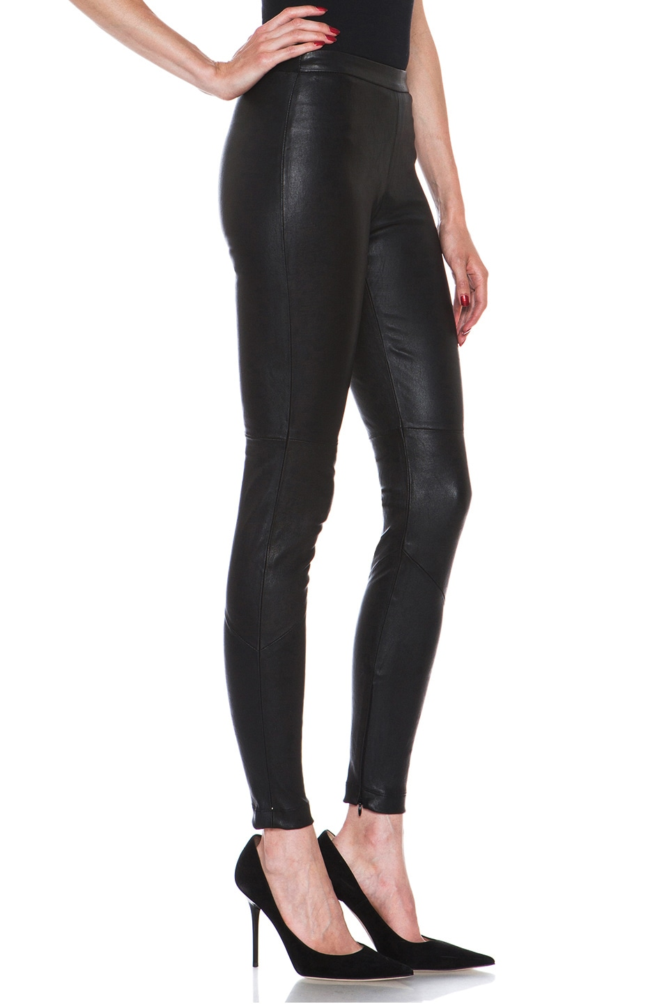 Image 3 of NICHOLAS Stretch Leather Legging in Black