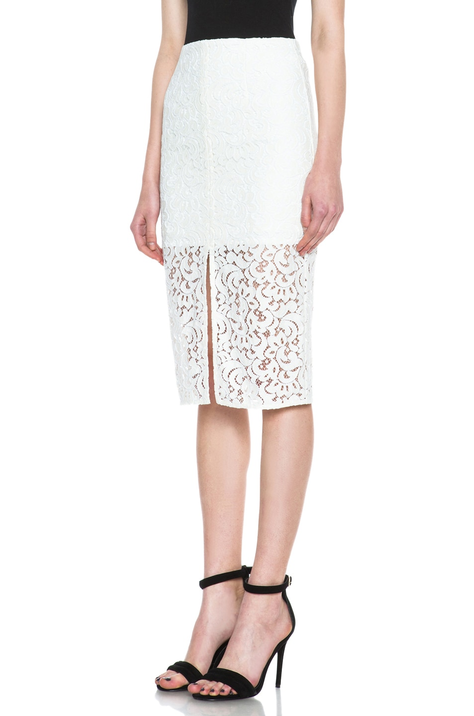 Image 2 of NICHOLAS Pencil Crochet Knit Skirt in Ivory