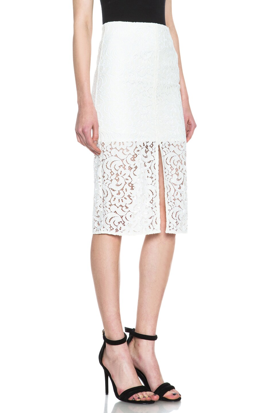 Image 3 of NICHOLAS Pencil Crochet Knit Skirt in Ivory