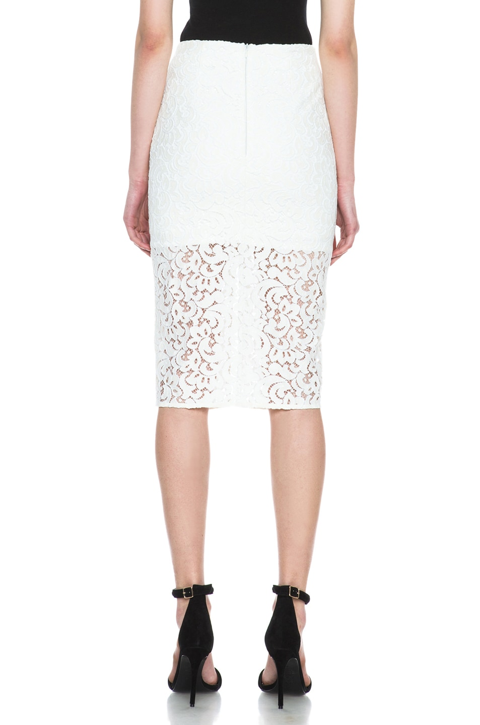 Image 4 of NICHOLAS Pencil Crochet Knit Skirt in Ivory