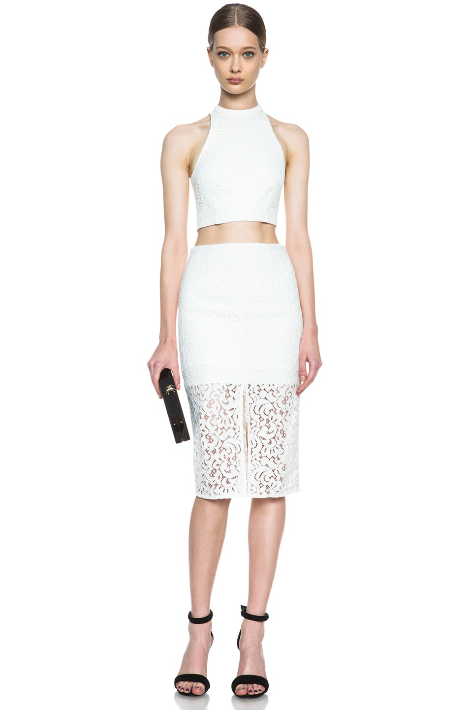 Image 5 of NICHOLAS Pencil Crochet Knit Skirt in Ivory