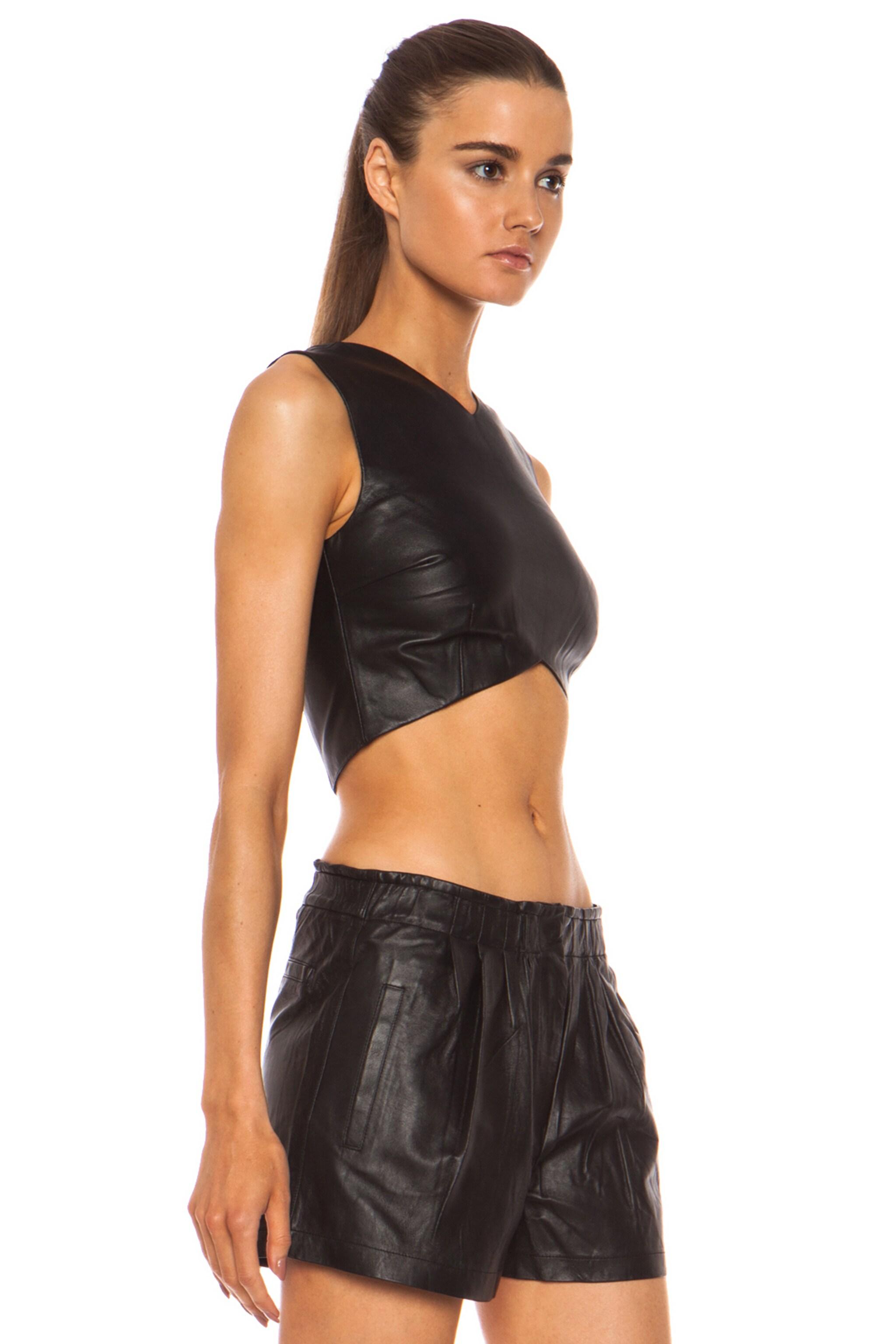 Image 3 of NICHOLAS Leather Crop Top in Black