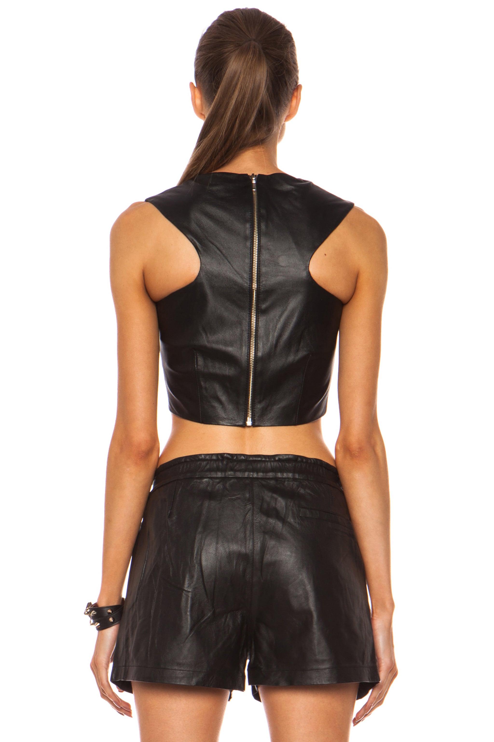Image 4 of NICHOLAS Leather Crop Top in Black