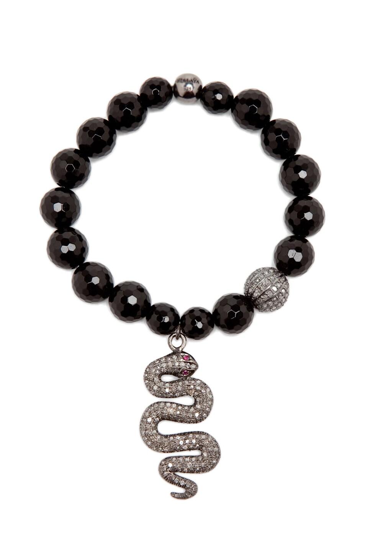 Image 3 of Nialaya Diamond Collection Snake Bracelet in Black