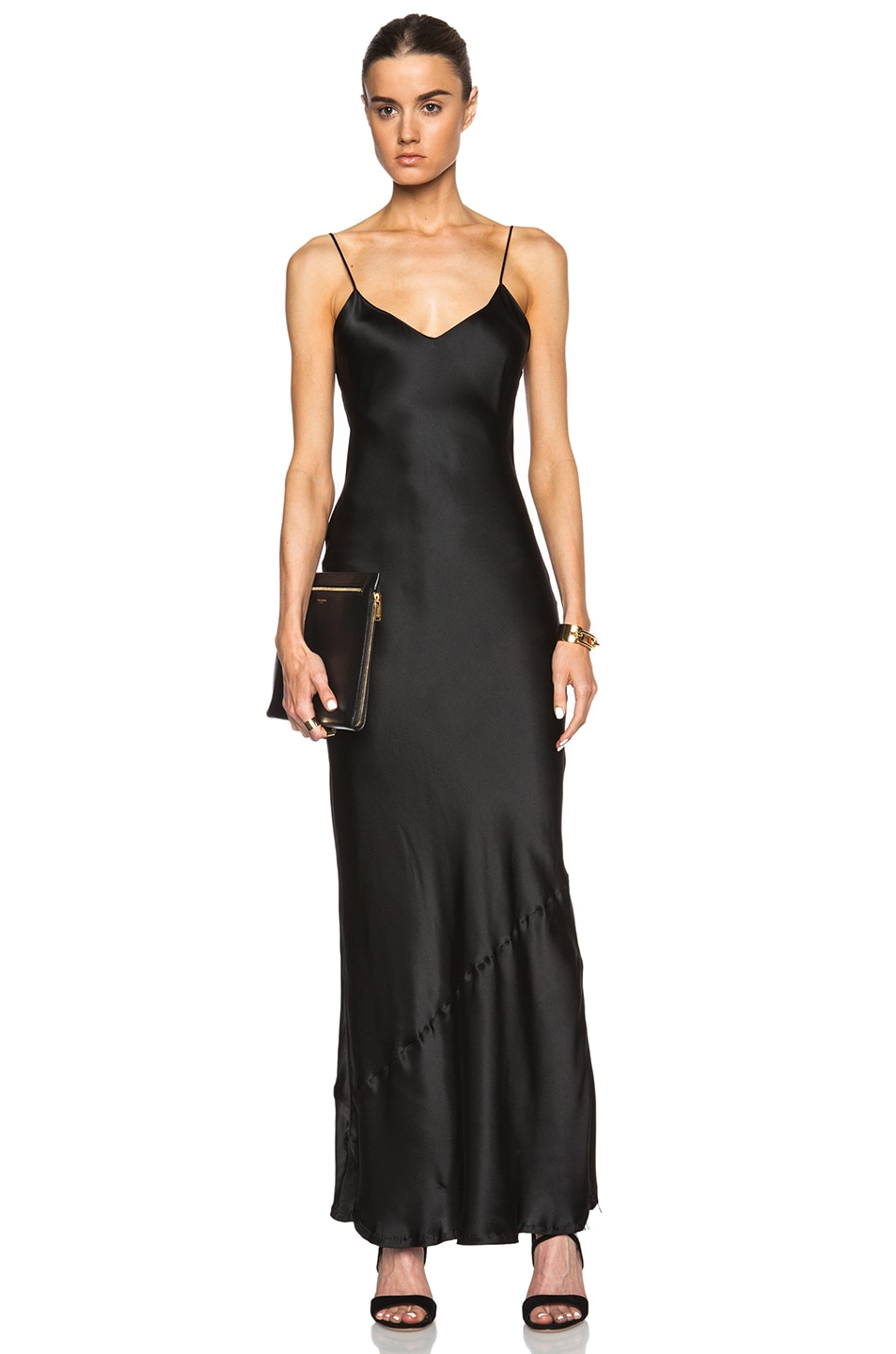 Core Silk Charmeuse Slip Gown - Black Size Xs in Blue