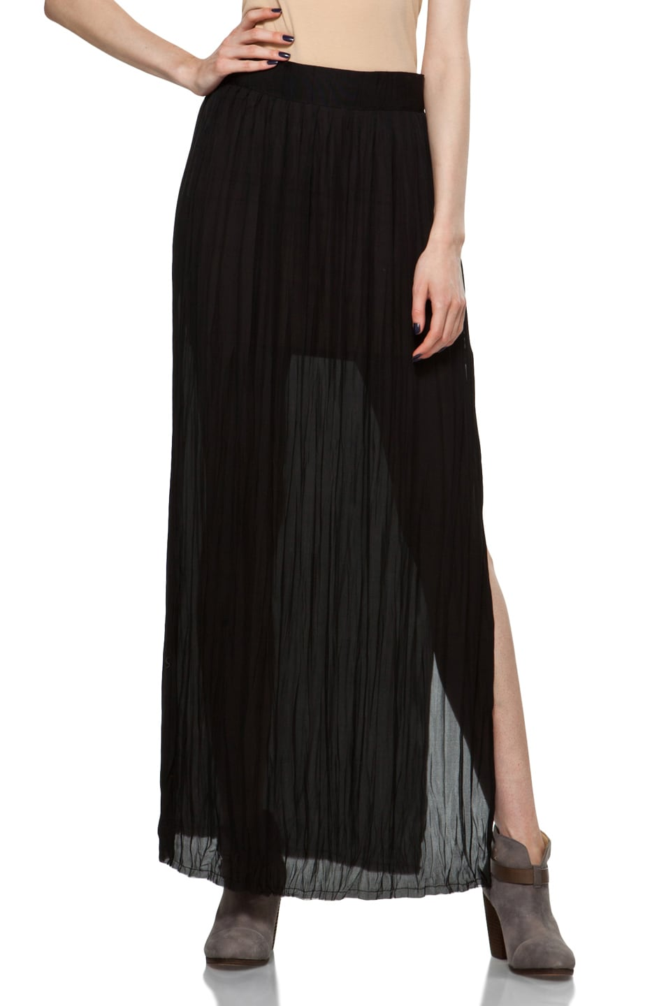 Image 1 of Nili Lotan Wrinkled Skirt in Black