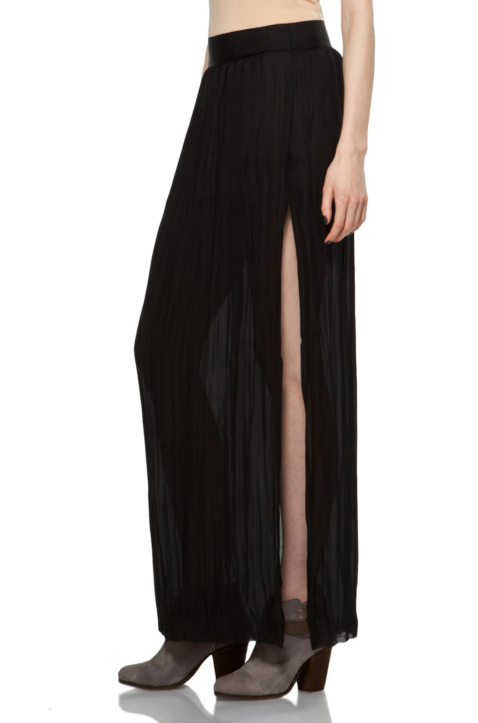 Image 2 of Nili Lotan Wrinkled Skirt in Black