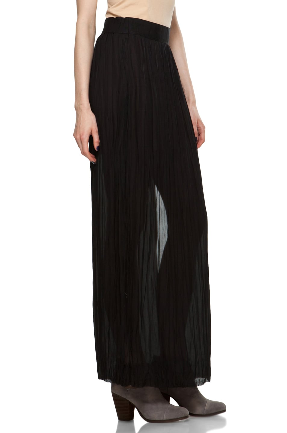 Image 3 of Nili Lotan Wrinkled Skirt in Black