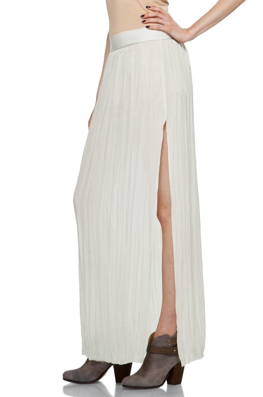 Image 2 of Nili Lotan Wrinkled Skirt in Oyster