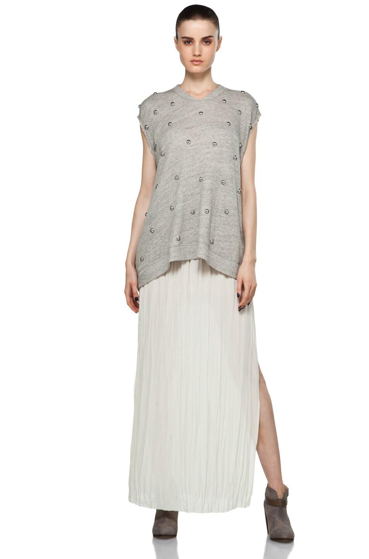 Image 5 of Nili Lotan Wrinkled Skirt in Oyster