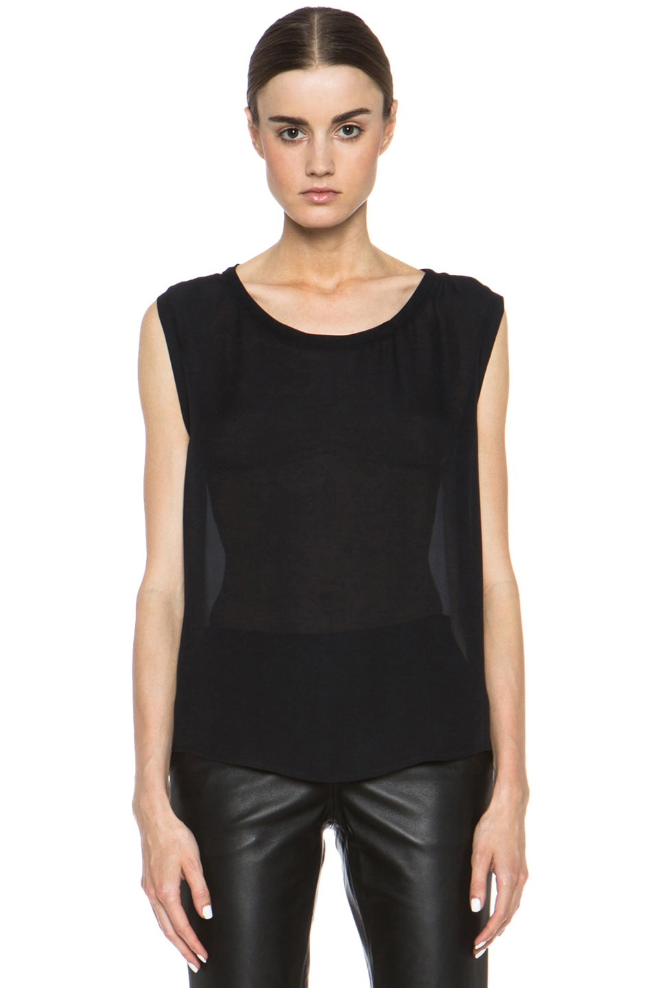 Image 1 of Nili Lotan Colorblock Silk Tee in Black & Ivory