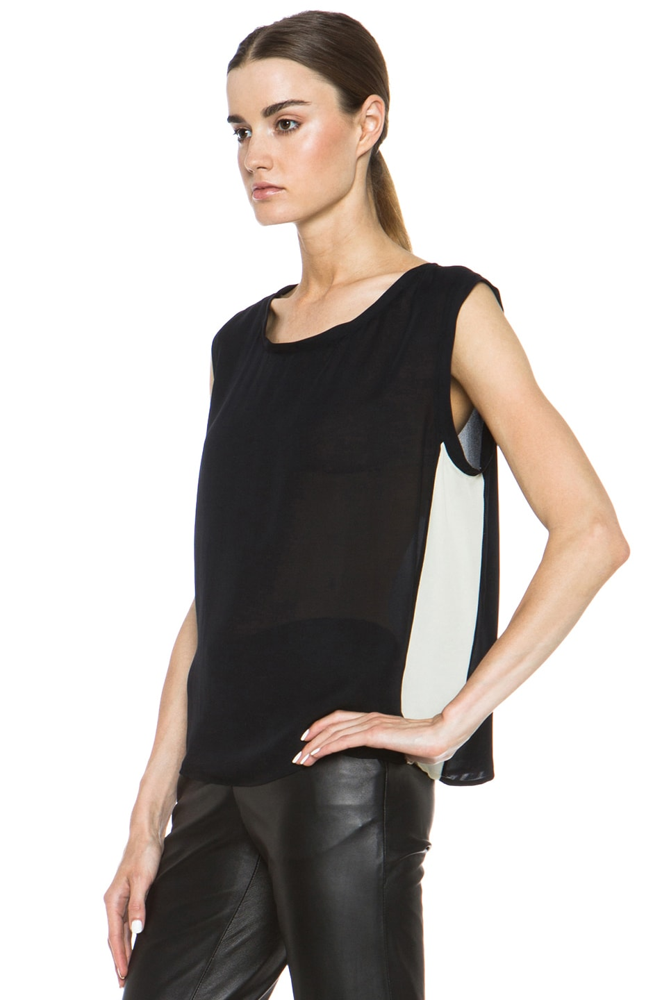 Image 2 of Nili Lotan Colorblock Silk Tee in Black & Ivory