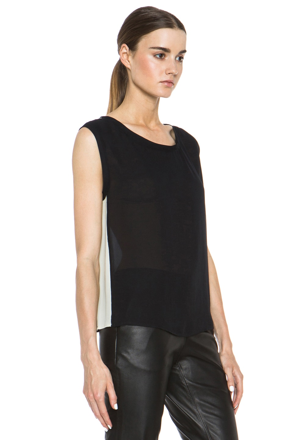 Image 3 of Nili Lotan Colorblock Silk Tee in Black & Ivory