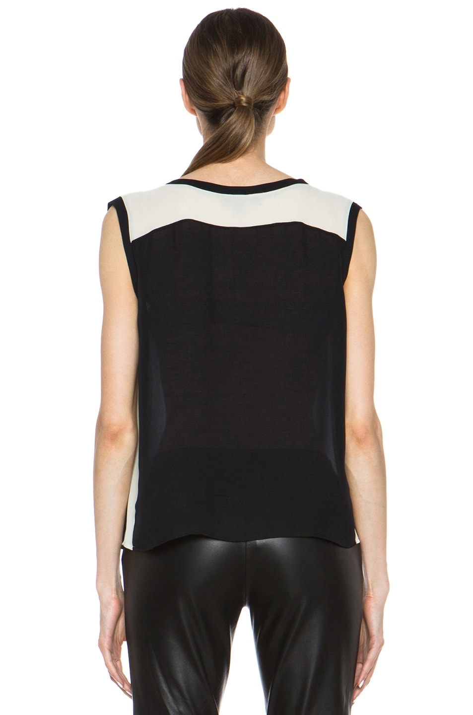 Image 4 of Nili Lotan Colorblock Silk Tee in Black & Ivory