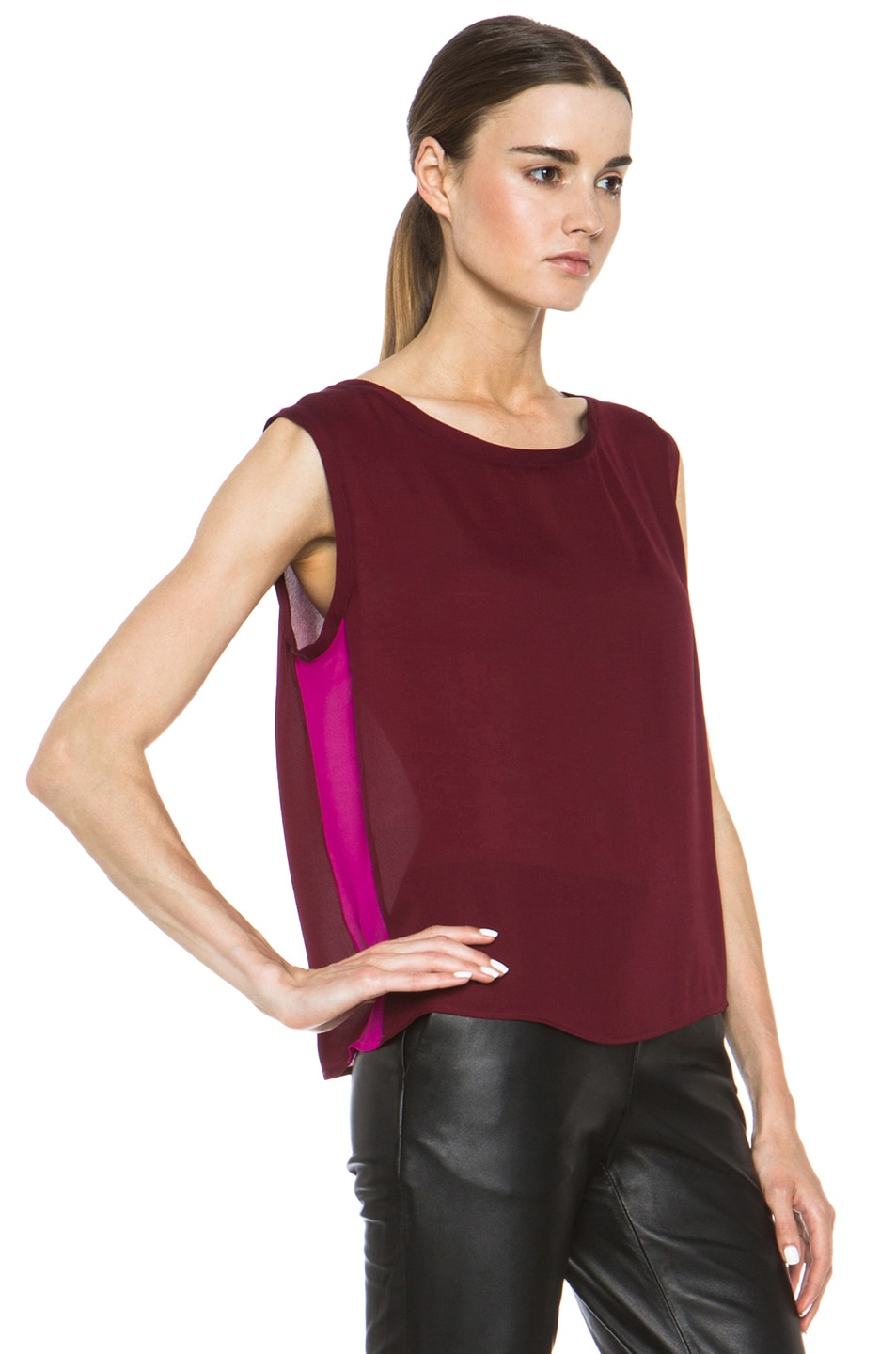 Image 3 of Nili Lotan Colorblock Sleeveless Tee in Cabernet & Petunia