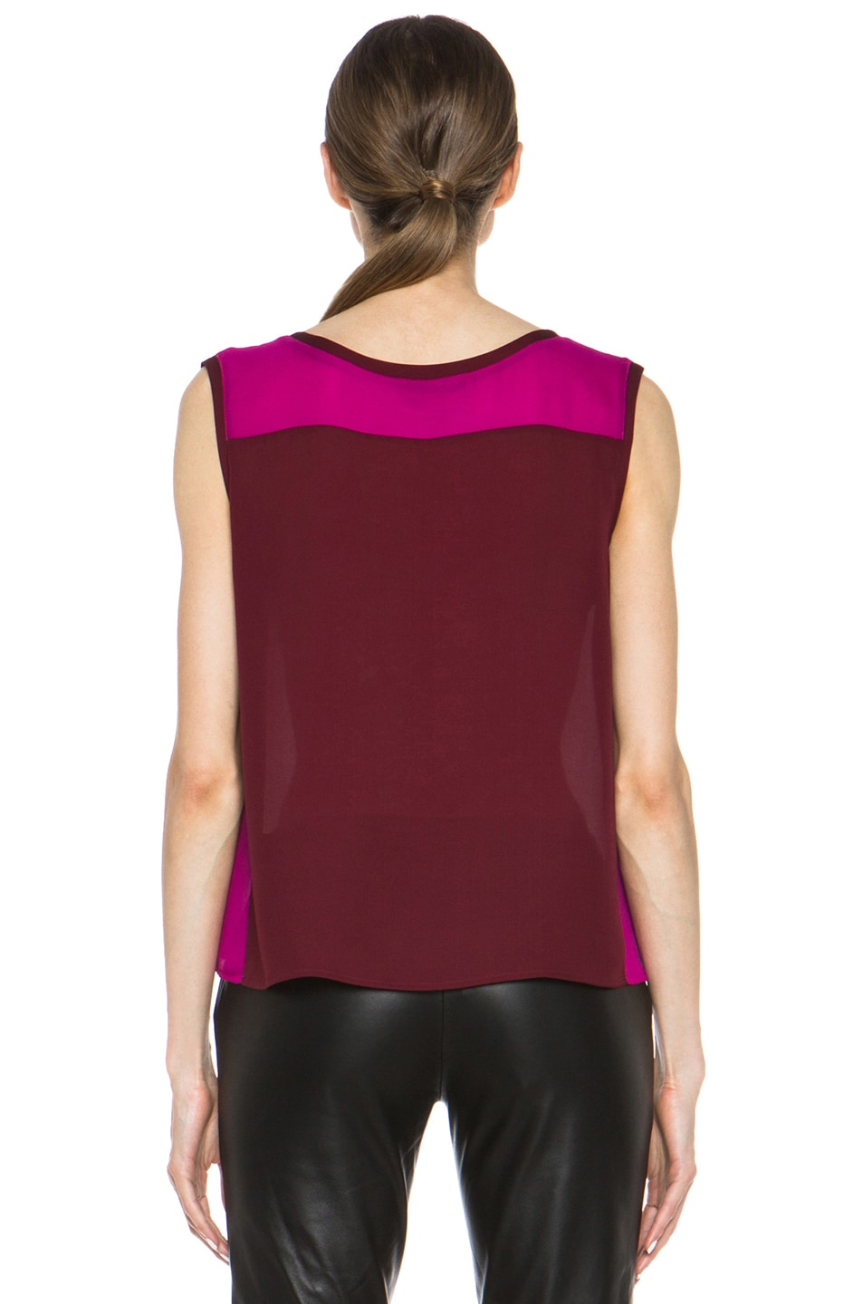 Image 4 of Nili Lotan Colorblock Sleeveless Tee in Cabernet & Petunia