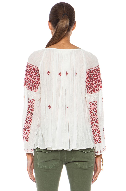 Image 4 of Nili Lotan Bohemian Cotton Top in Multi Red