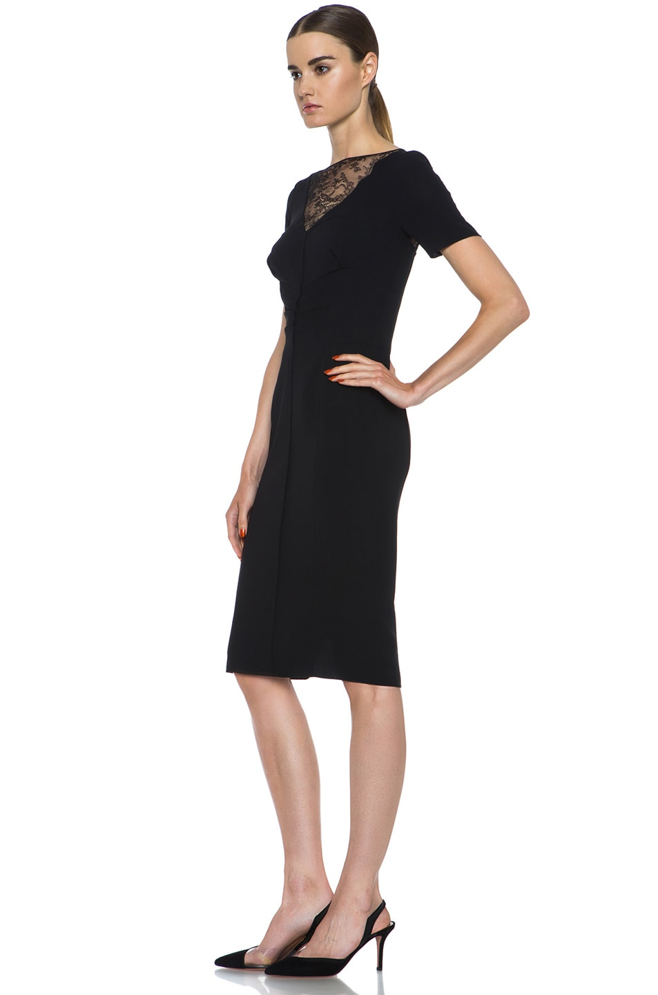 Image 2 of Nina Ricci Silk Crepe Dress in Black