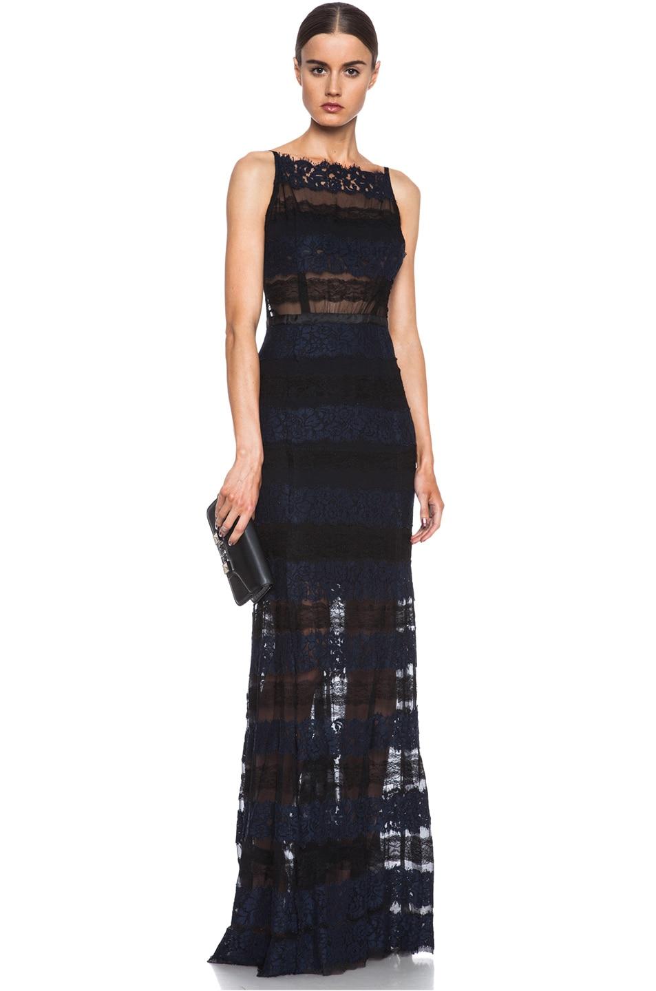 Image 1 of Nina Ricci Lace & Silk Dress in Navy