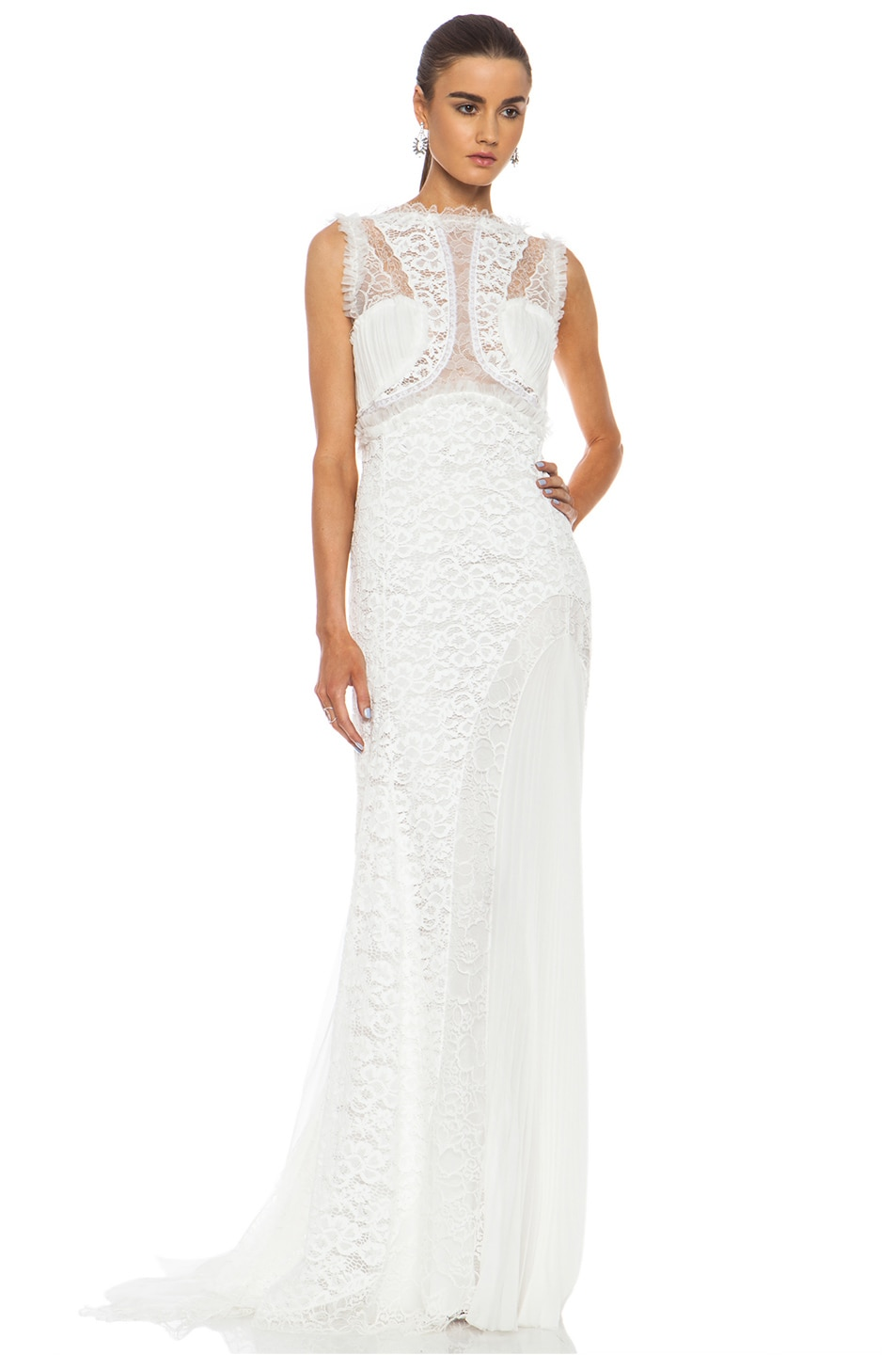 Image 1 of Nina Ricci Lace Viscose-Blend Gown in White