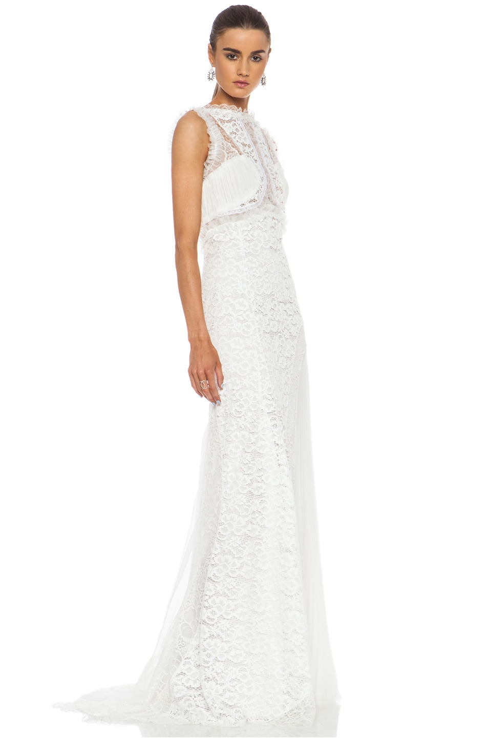Image 3 of Nina Ricci Lace Viscose-Blend Gown in White