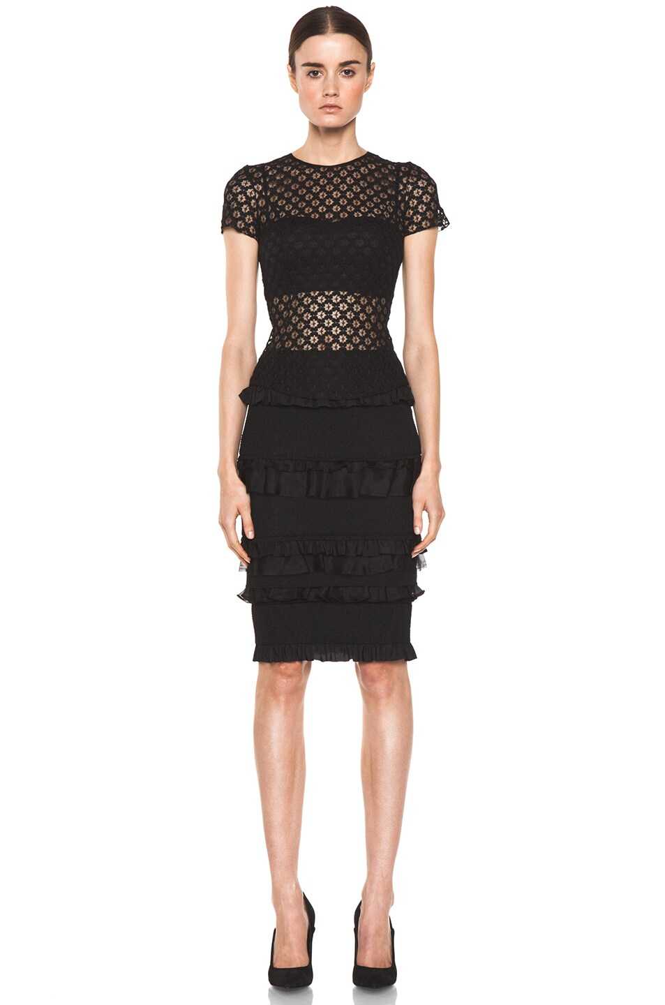 Image 5 of Nina Ricci Ruffle Pencil Skirt in Black