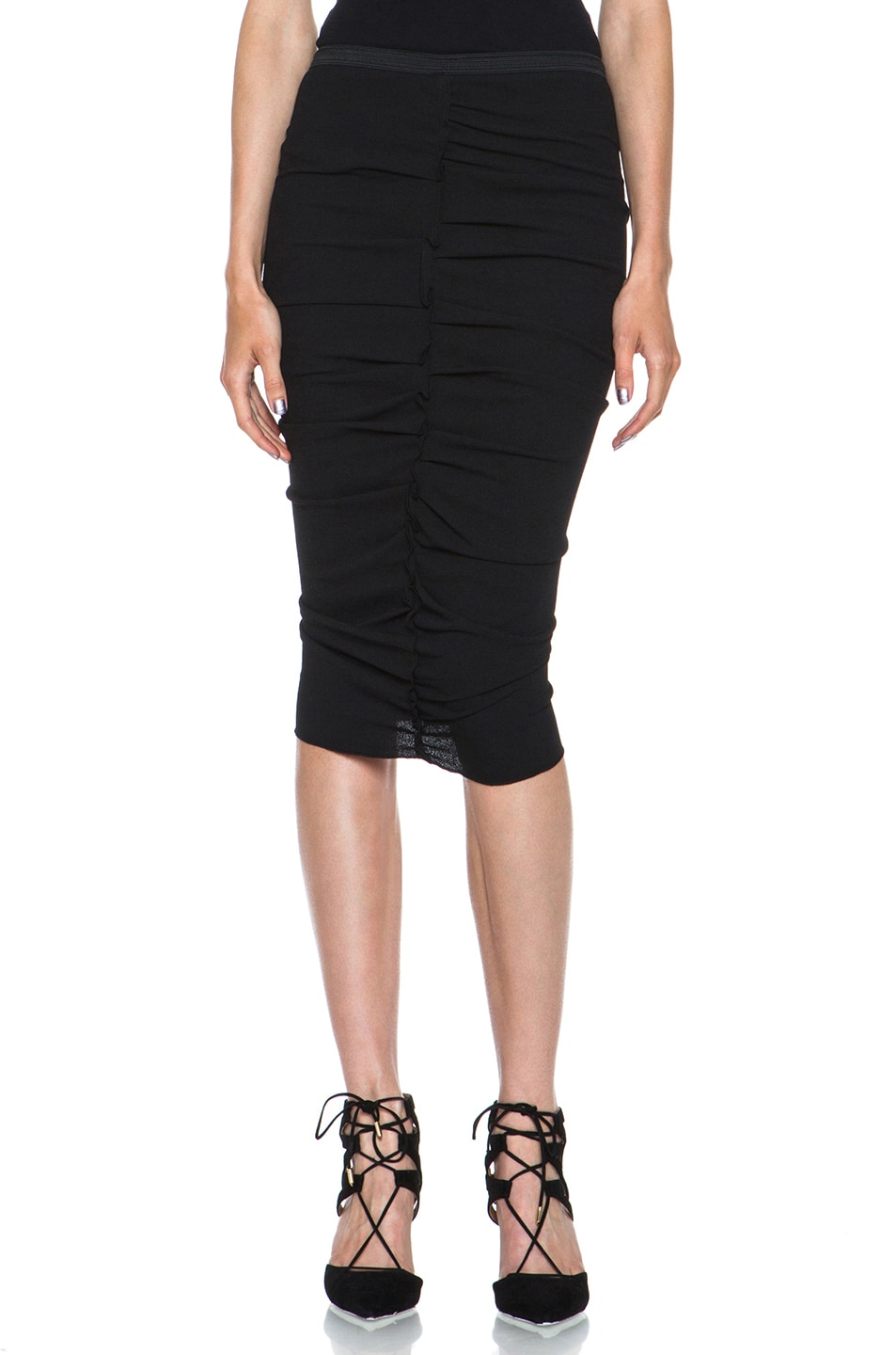 Image 1 of Nina Ricci Poly Pencil Skirt in Black