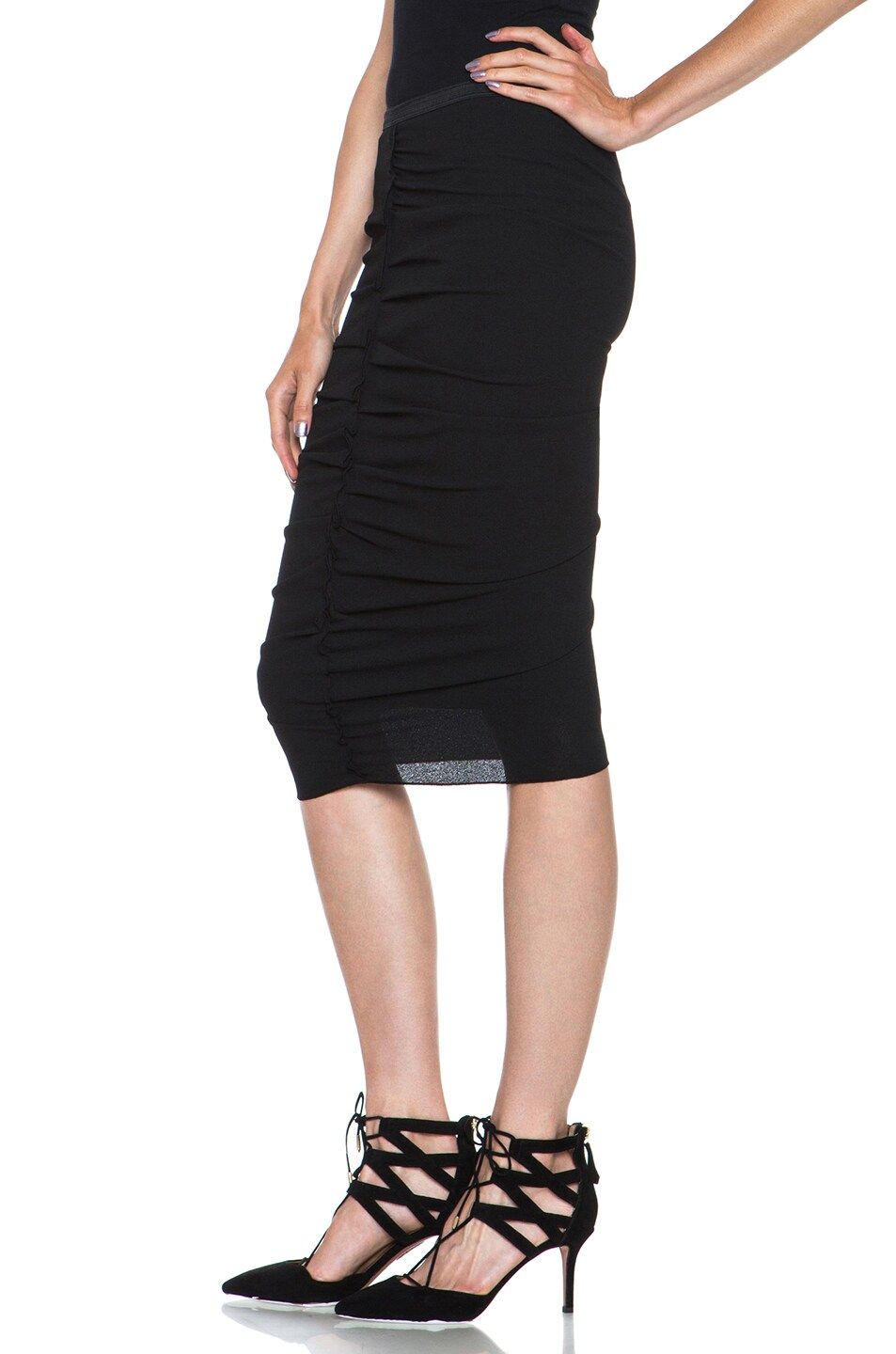 Image 2 of Nina Ricci Poly Pencil Skirt in Black