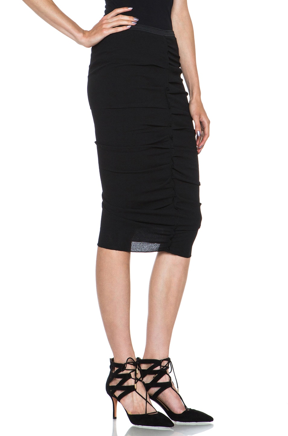 Image 3 of Nina Ricci Poly Pencil Skirt in Black