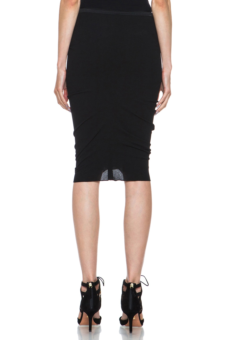 Image 4 of Nina Ricci Poly Pencil Skirt in Black
